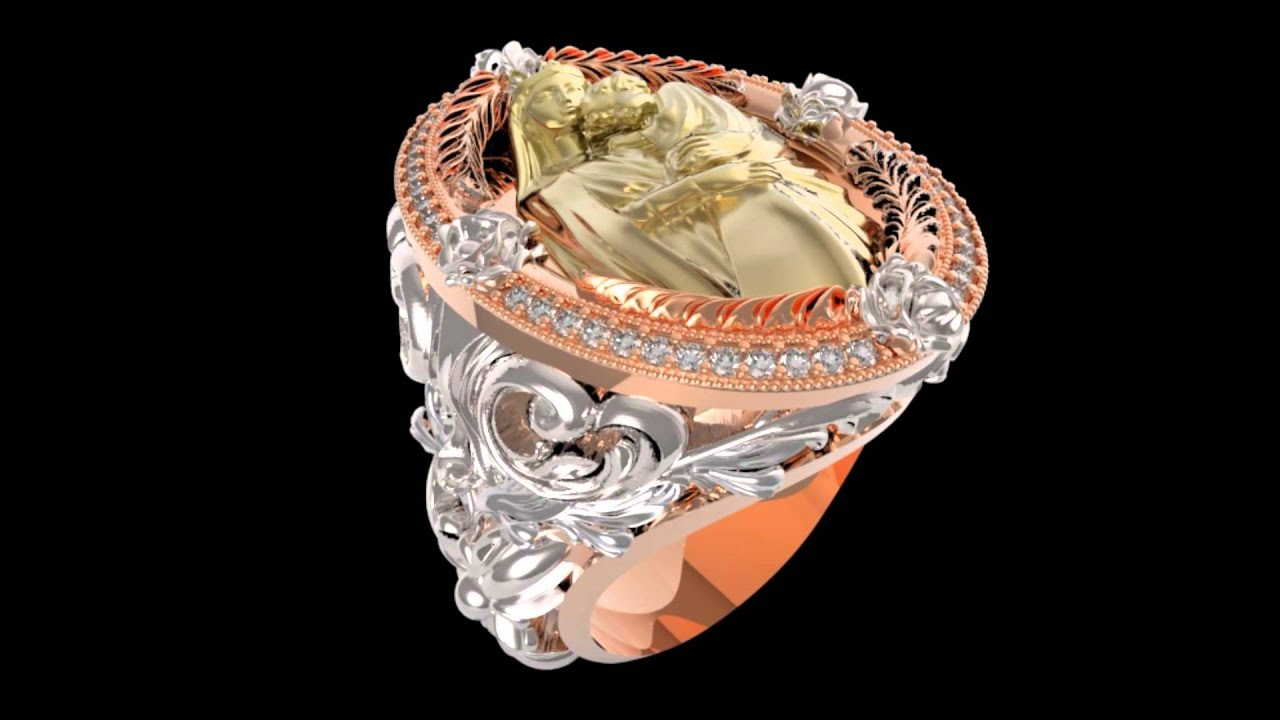 Jewelry cad designer virgin mary Baruq ring - YouTube