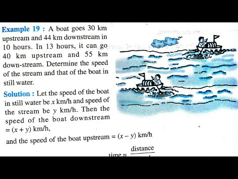 Boat problem class 10 maths   upstream and downstream problem   example 19
