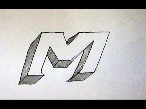 M Alphabet In 3d How To Write Letter M in 3D / Easy 3D Sketch Tutorial For Kids ...