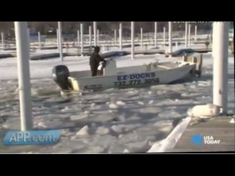 Watch boat crew push through icy water to get job done