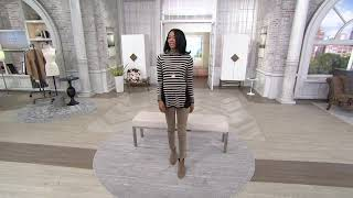 For More Information or to Buy: https://qvc.co/2XHbYTE Susan Graver Striped Cotton Rayon Nylon Sweater w/Button Detail With the help of stripes and several ...