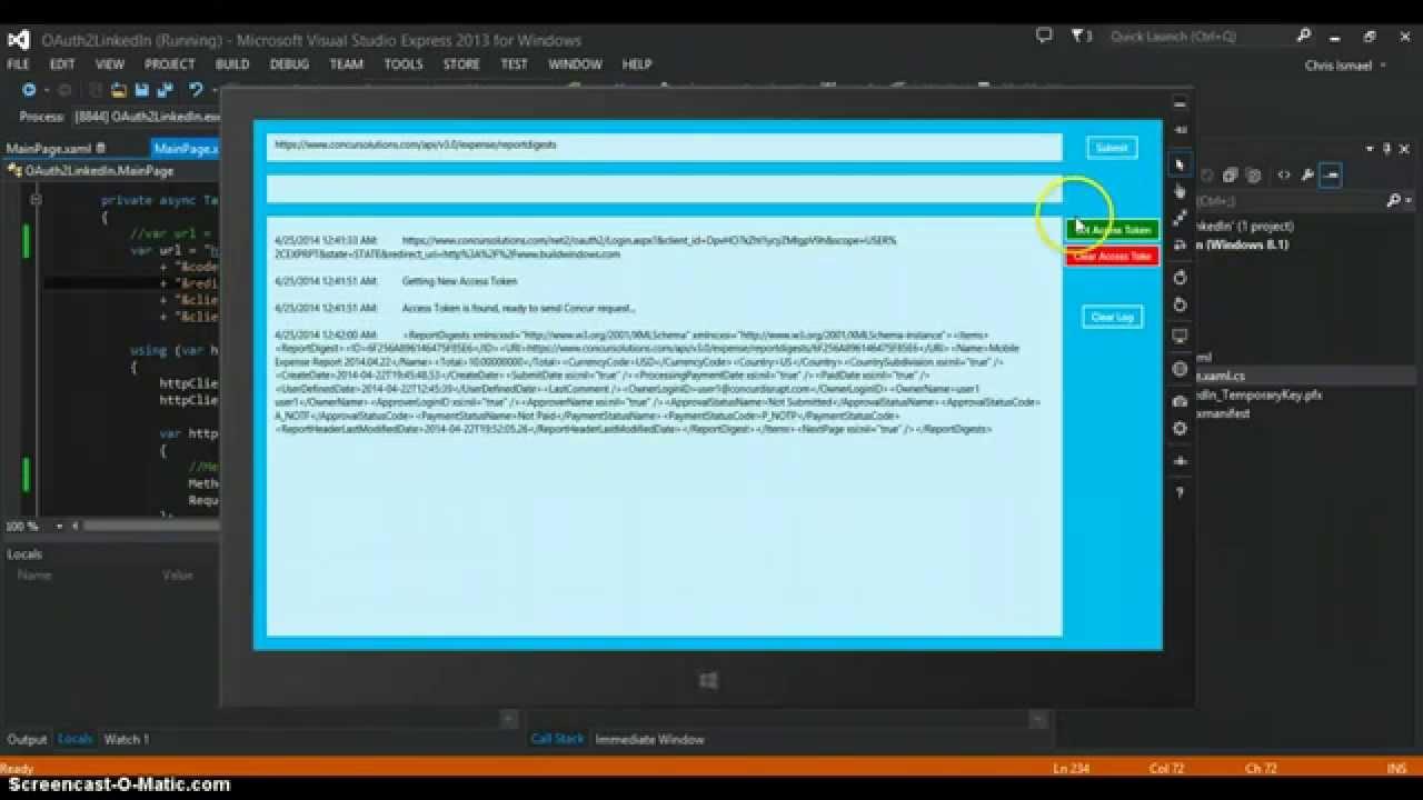 Windows Store Concur demo app
