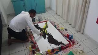Quadro Abstrato Contemporâneo Pintado A Mão - Fluido
