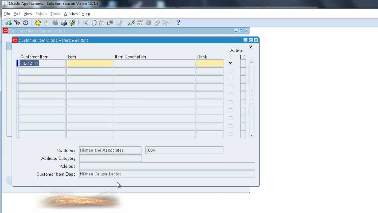 INV Customer Item Cross Reference, Oracle Applications Training
