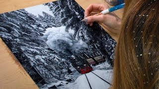 Drawing a Winter Landscape / Steam Train
