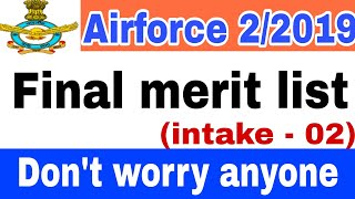 Airforce group x and y final merit list for intake-2/2019    airforce final cutoff intake 2/2019