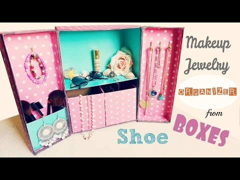 DIY Storage | Makeup Jewelry Organizer from Shoe boxes
