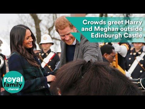 Crowds greet Prince Harry and Meghan Markle outside Edinburgh Castle