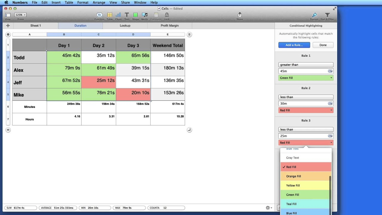Numbers for Mac Tutorial How to apply Conditional Highlighting