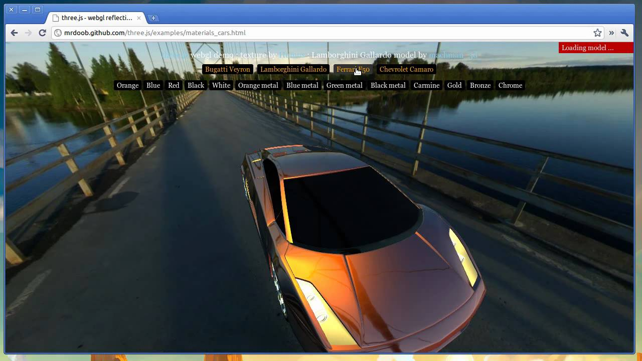 three js webgl cars demo
