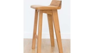 The Wave Contemporary Solid Oak Bar Stool