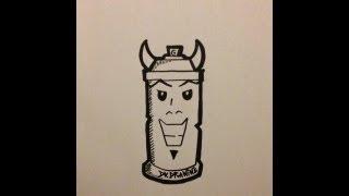 How to draw graffiti characters - Spraycan Bull