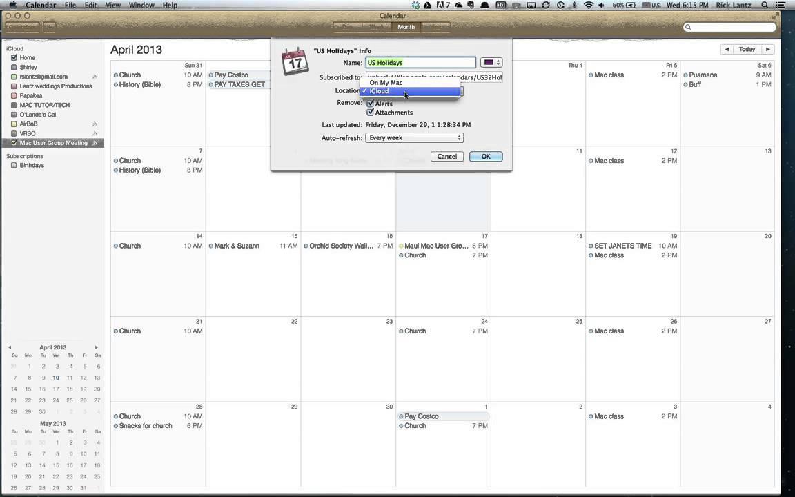how to add calendar to icloud