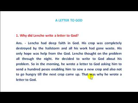 what did lencho write in his letter
