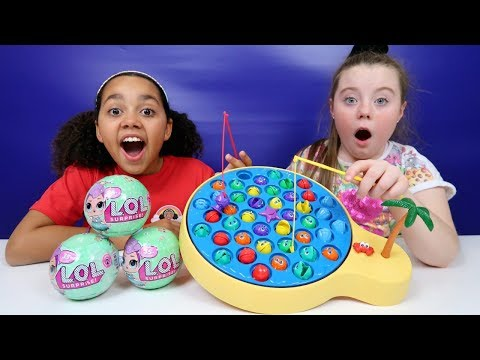 Lets Go Fishing Game Toy Challenge | LOL Surprise Dolls