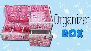 DIY Makeup Storage and Organization| DIY Hello Kitty Desk Organizer Cardboard