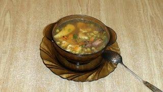 Суп с рисовыми галушками и копчёными рёбрами.