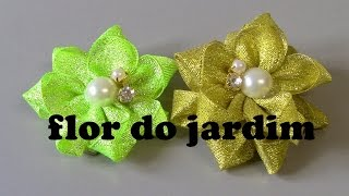 2 modelos de Flores de fitas – 2 Ribbon Flower Patterns