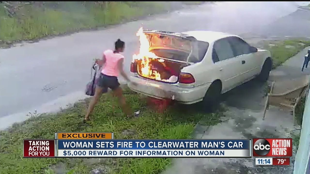 mystery woman lights clearwater man's car on fire - youtube