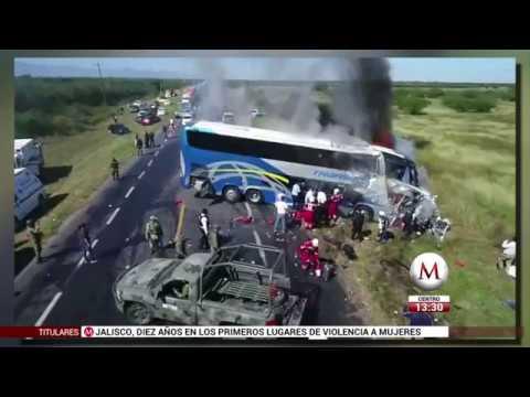 Autobús choca y se incendia en la carretera Cd. Victoria-Monterrey