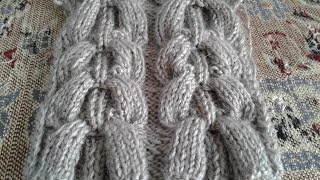 Узор широкие косы. Араны. Вязание спицами # 6