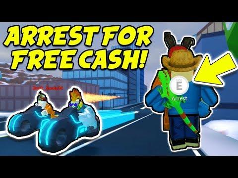 ARREST ME FOR FREE CASH!! Volt Bike Race and Train Robbing! (Roblox Jailbreak New Winter Update)