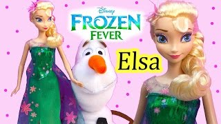 FROZEN FEVER Queen Elsa  Birthday Party Doll From 2015 New Disney Short Movie Unboxing Review Video