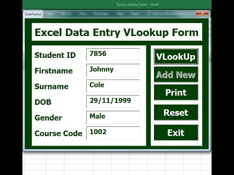 How to Create Excel Data Entry VLookup Form with Search Function Using Userform