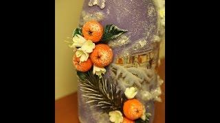 видео Декупаж бутылки шампанского на Новый год