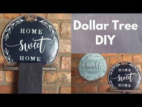 Dollar Tree Hand Towel Holder & Wall Hook DIY