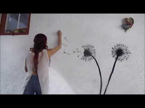 Mural decorativo diente de le n youtube for Materiales para pintar un mural