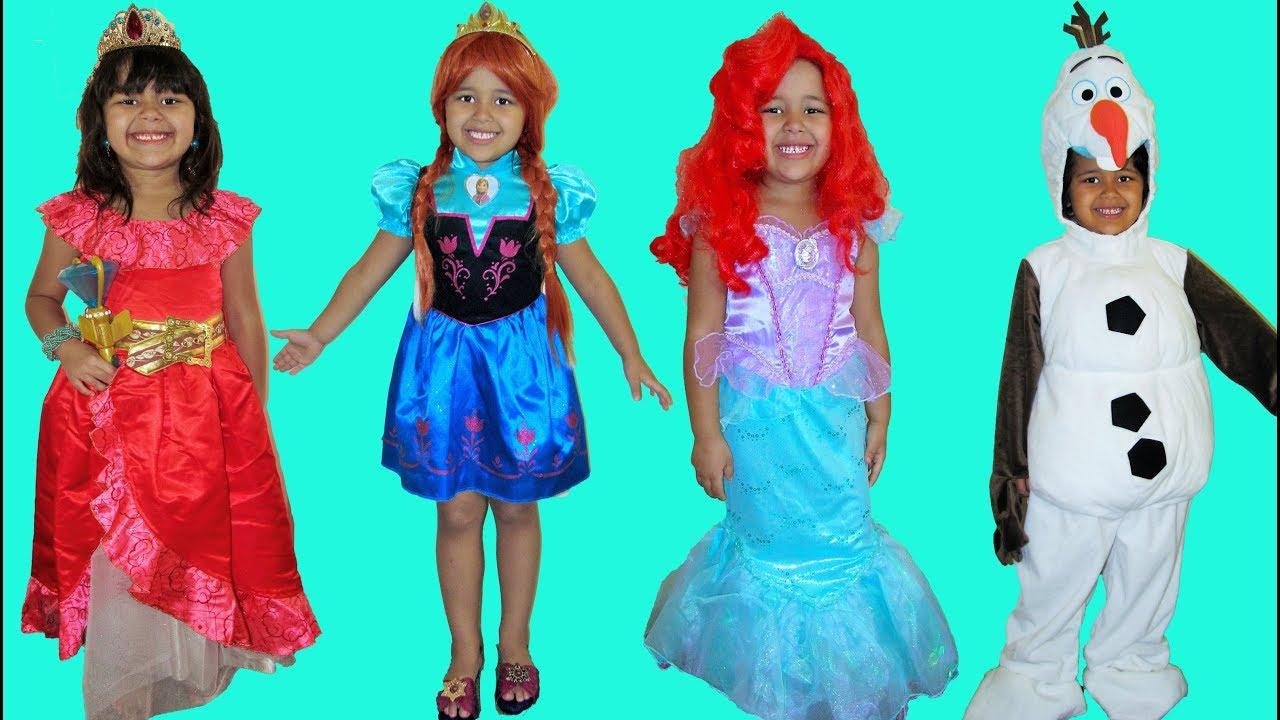 5 Halloween Costumes Costume Runway Show Disney Princess Anna Elena of  Avalor Ariel and Jasmine