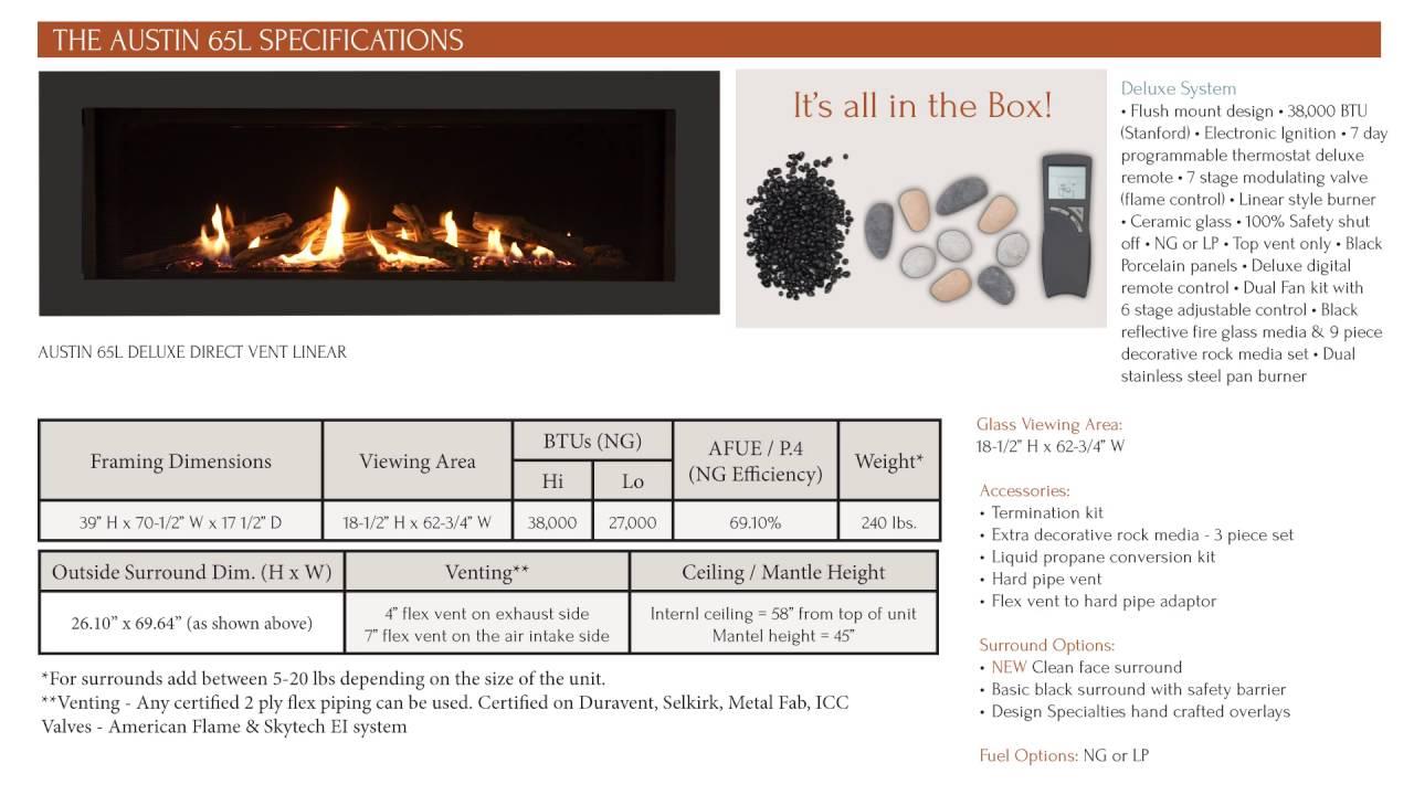 sierra flame the austin 65l u2013 direct vent linear gas fireplace