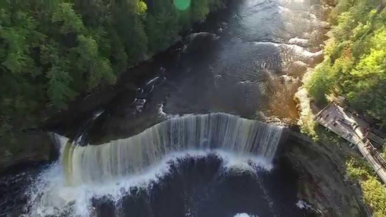 Fall In Michigan Wallpaper Drone Aerial Tahquamenon Upper Falls 2015 Hd Youtube