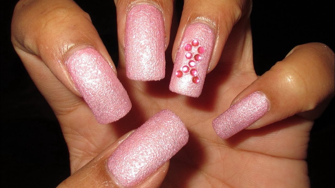 Breast Cancer Pink Rhinestone Ribbon Nail Art Tutorial