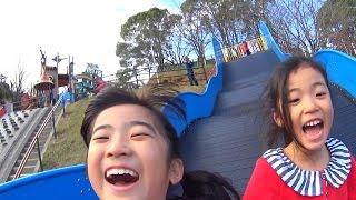 幅の広い滑り台で遊んできました♪ 大将陣公園