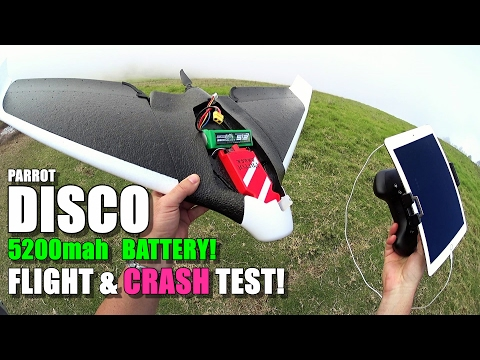 PARROT DISCO Review - Part 5 - [5200mah High Capacity Battery Cloud Flight & Crash Test]