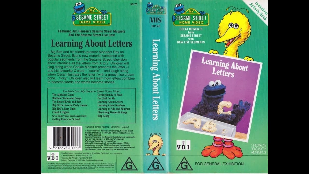 My Sesame Street Home Video Learning About Letters