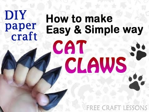 How to make scary CAT CLAWS | halloween props decor | easy DIY paper craft | Free Lessons