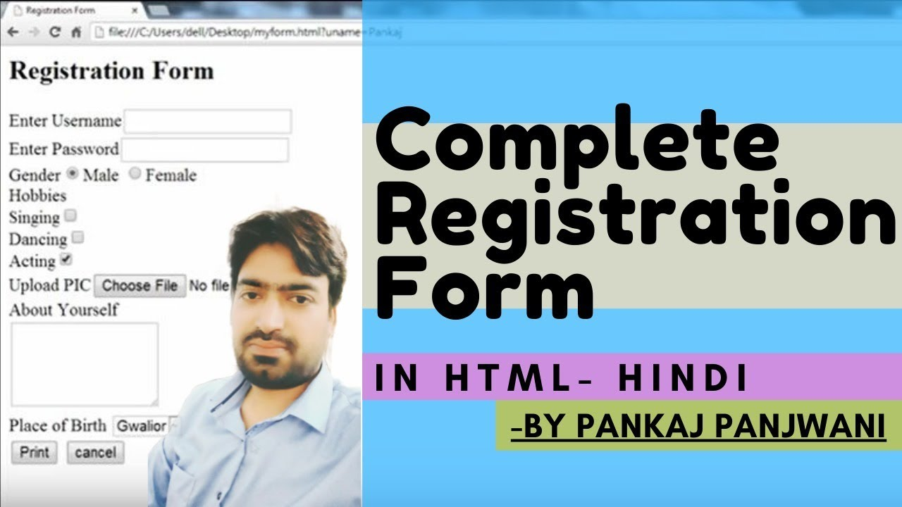 Complete registration form in html hindi youtube - Html div class ...