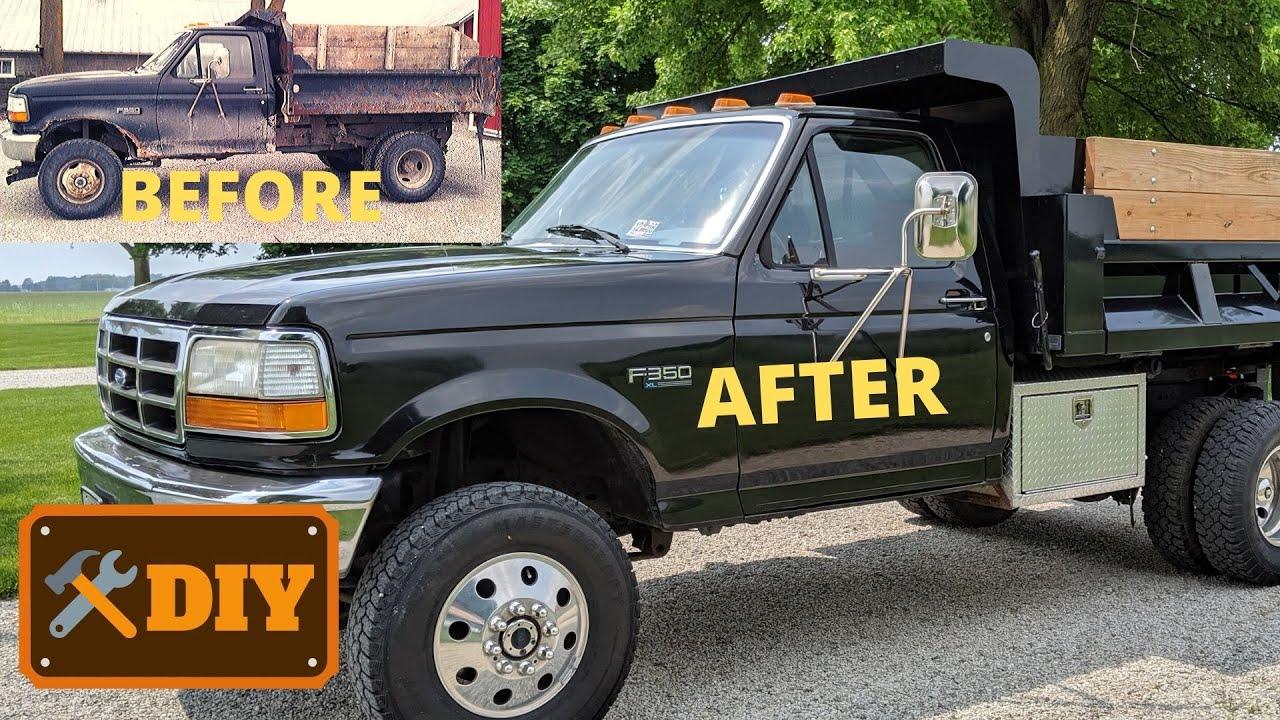Ford Single Cab Dually >> 95 Ford F350 4X4 Dump Truck Restoration - YouTube