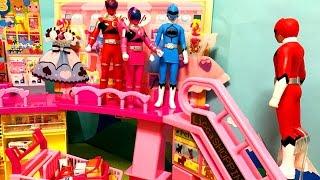 キュウレンジャー しゅつどう前にショッピング❤︎ジュウオウジャー みんなでショッピングモールにお買い物へ行くよ♪エスカレーターに乗って2階へ行こう♪ごっこ遊び アニメ おもちゃ thumbnail