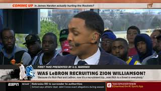Stephen A Smith  Max Kellerman PUZZLED Was LeBron recuiting Zion Williamson  First Take