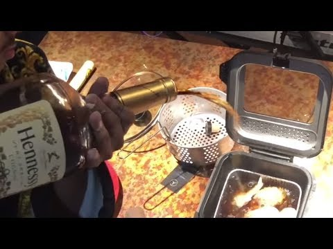 Frying Chicken in Hennessy by Chef Henny
