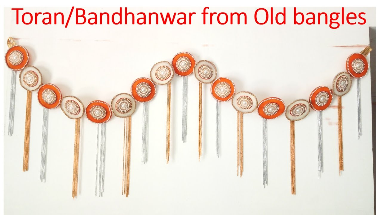 How to make TORAN/BANDHANWAR/ DOOR HANGING from OLD BANGLES || BEST OUT OF WASTE  sc 1 st  YouTube : door torans - pezcame.com