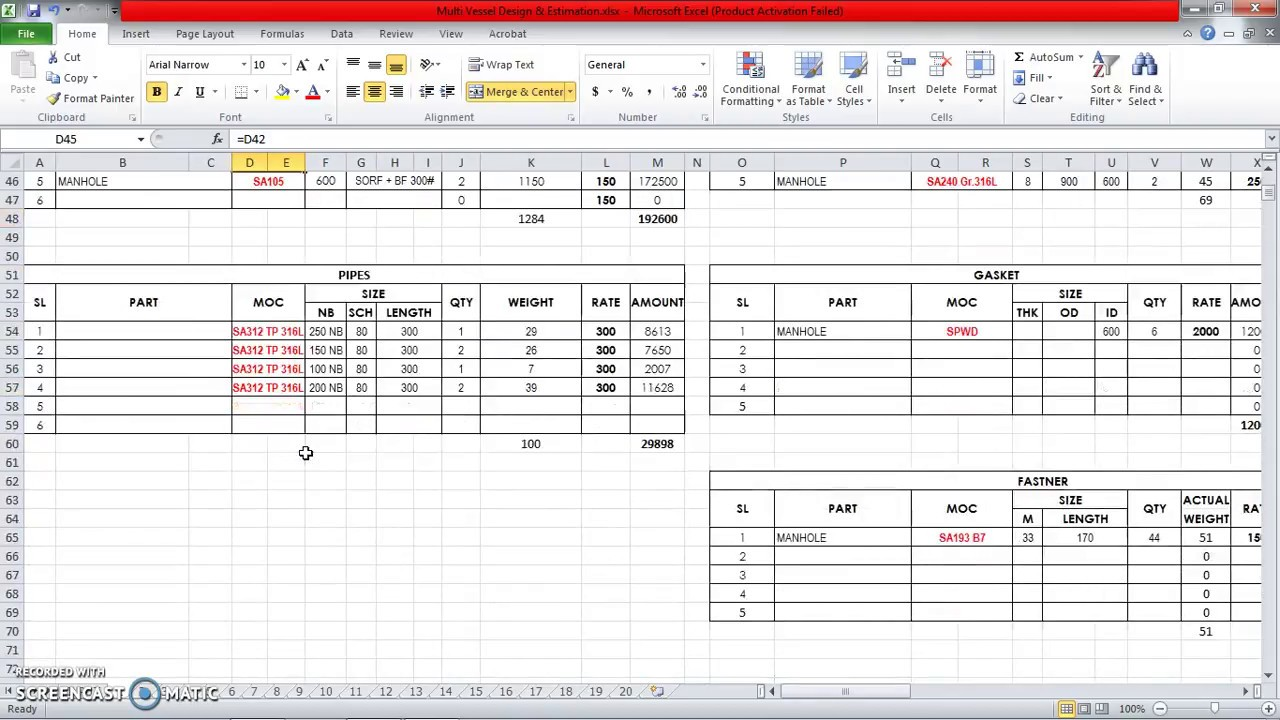 Multi Pressure Vessel Design & Estimation Spreadsheet