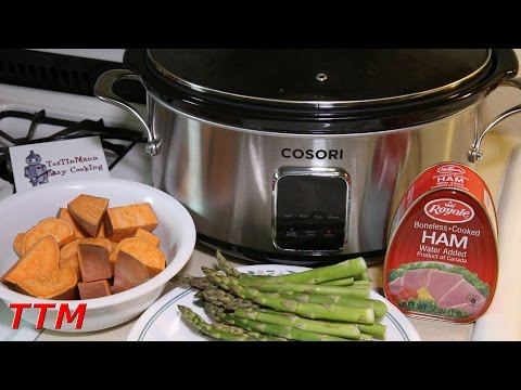 How To Make A Ham Dinner With Sweet Potatoes And Asparagus In The Cosori Slow Cooker