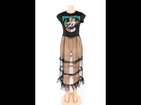Mesh See Through Girls Print Shirt Dress Wholesale
