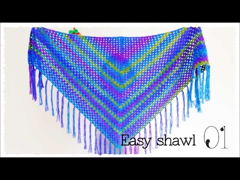 冷房対策にもカーディガン代わりの三角ショール(1)【かぎ編み】の簡単な編み方♪ diy crochet triangle shawl tutorial
