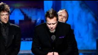 Metallica accepts award Rock and Roll Hall of Fame Inductions 2009